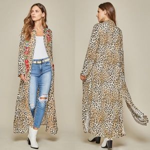 Leopard Floral Embroidered Boho Maxi Dress Duster